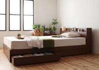 棚・コンセント 収納ベッド【S.leep】エス・リープ 茶色・ブラウンベッド
