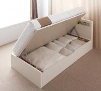 新開閉タイプが選べるガス圧式跳ね上げ大容量収納ベッド【Grand L】グランドエル コンセント付きベッド