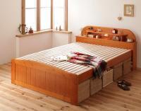 高さが調節できる!照明&宮棚&コンセント付き天然木すのこベッド【Days.】デイズ ダブルベッド