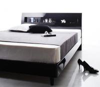 鏡面光沢仕上げ 棚・コンセント付きモダンデザインすのこベッド【Degrace】ディ・グレース ベッド