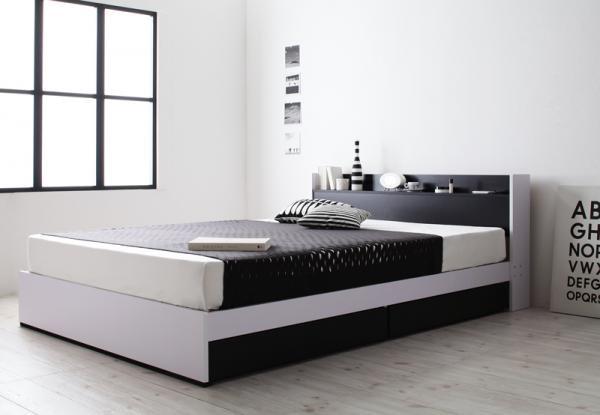 モノトーンモダンデザイン 棚・コンセント 収納ベッド【MONO-BED】モノ・ベッド