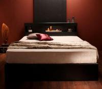 モダンライト・コンセント・収納ベッド【Acacia】アケーシア ブラック・黒いベッド