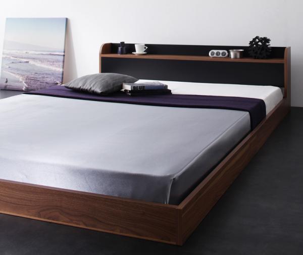 棚・コンセント バイカラーデザインフロアベッド【DOUBLE-Wood】ダブルウッド