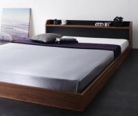 棚・コンセント バイカラーデザインフロアベッド【DOUBLE-Wood】ダブルウッド セミダブルベッド