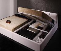 ガス圧式跳ね上げウッドスプリング収納ベッド 【Stadt】シュタット レザータイプ 収納ベッド