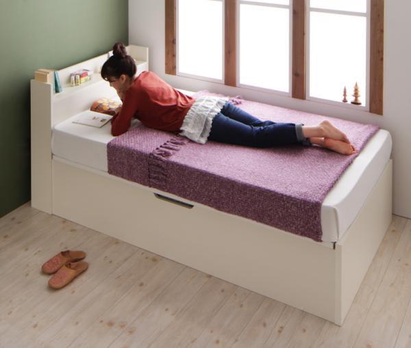 <組立設置>ショート丈ガス圧式跳ね上げ収納ベッド【Clory Short】クローリーショート