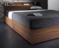 ウォルナット柄/棚・コンセント付き収納ベッド【Espelho】エスペリオ 茶色・ブラウンベッド