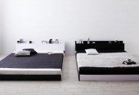 モノトーンバイカラーデザイン棚・コンセント付きフロアベッド【Frieden】フリーデン コンセント付きベッド