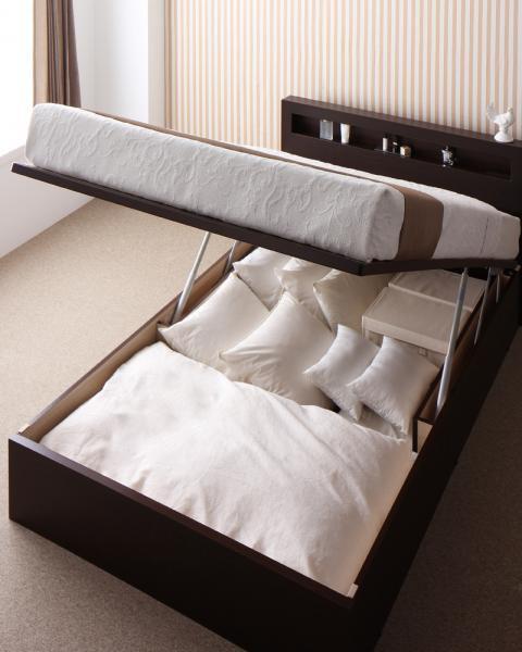 新<組立設置>開閉タイプが選べるガス圧式跳ね上げ大容量収納ベッド【Grand L】