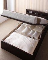 新<組立設置>開閉タイプが選べるガス圧式跳ね上げ大容量収納ベッド【Grand L】 シングルベッド