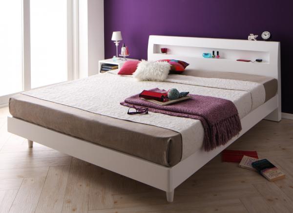 棚・コンセント付きデザインすのこベッド【Quartz】クォーツ