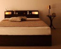 棚・照明・コンセント・高級収納ベッド【Luar】ルアール 高級ベッド