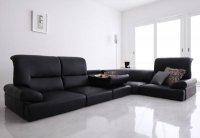 シンプルモダンシリーズ【BLACK】ブラック ハイバックフロアコーナーソファ 4人掛けソファ