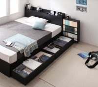 棚・コンセント・ヘッドボードスライド収納ベッド【SLIDE-IN】スライドイン