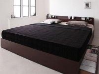 棚・コンセント・収納ベッド【EverKing】エヴァーキング キングサイズ クイーンサイズ 大きいベッド