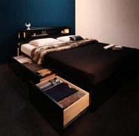 モダンライト・棚・コンセント・収納ベッド【Farben】ファーベン 収納ベッド