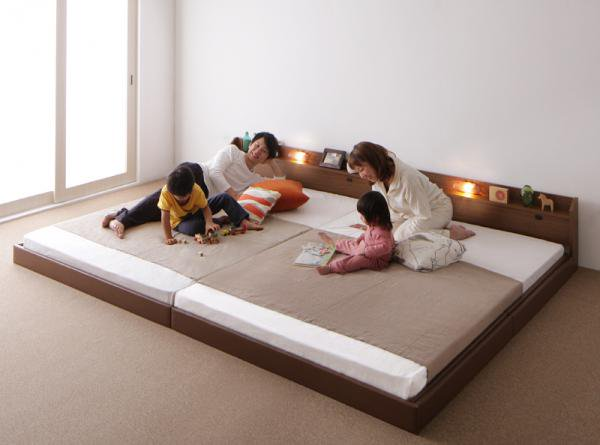 親子で寝られる棚・照明・コンセント・連結ベッド【JointJoy】ジョイント・ジョイ