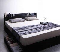 棚・コンセント・収納ベッド【Rizeros】リゼロス ブラック・黒いベッド
