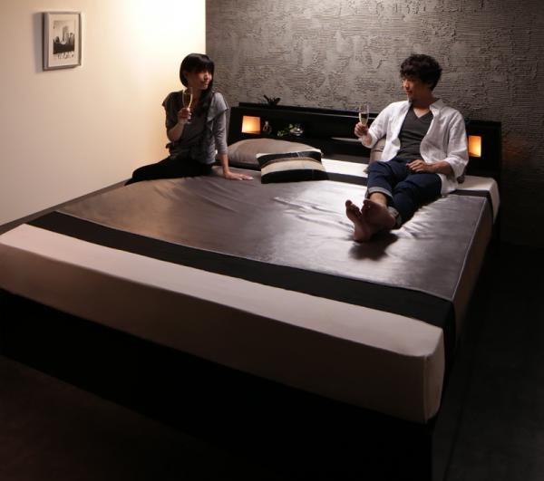 モダンデザイン・キングサイズ収納ベッド【Leeway】リーウェイ