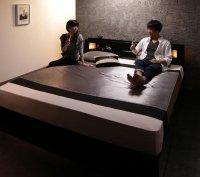 モダンデザイン・キングサイズ収納ベッド【Leeway】リーウェイ 連結・家族ファミリーベッド