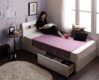 棚・コンセント・ショート丈収納ベッド【collier】コリエ ショートベッド 短いベッド