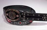 P-102*黒×黒×ダークレッド×黒*オリジナルトップ式バックルファンシータイプ