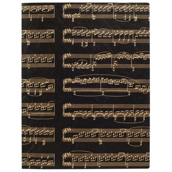 ミュージックレッスンファイル/ソナタ A4 サイドポケット 鍵盤 ブラックゴールド