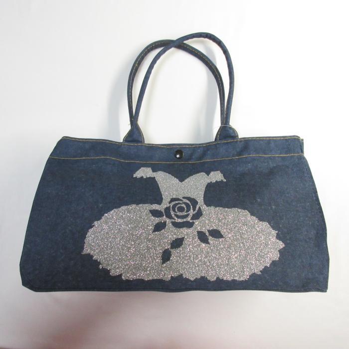 バレエ銀クラシックチュチュ デニム風ファッショントートバッグ,マザーバッグ