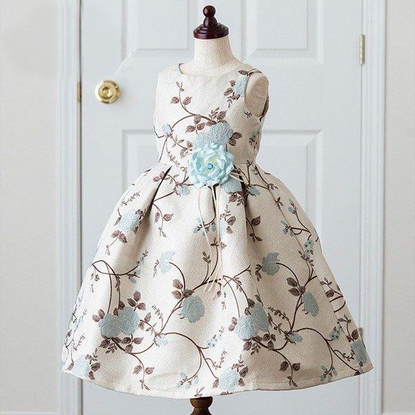 ピアノ発表会衣装【販売】ブルー花柄ジャガードドレス,結婚式、パーティ