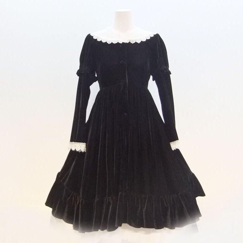 ドレス【レンタル】黒ベロア,ピアノ発表会,結婚式,パーティーワンピース