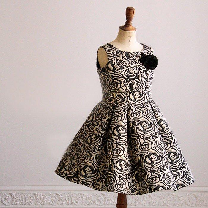 ドレス【レンタル】黒ローズ,ピアノ発表会,結婚式,パーティーワンピース