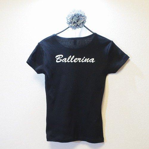 <img class='new_mark_img1' src='https://img.shop-pro.jp/img/new/icons1.gif' style='border:none;display:inline;margin:0px;padding:0px;width:auto;' />バレエTシャツバックプリント,黒Ballerina背面,ウォームアップウエア,バレエ用品