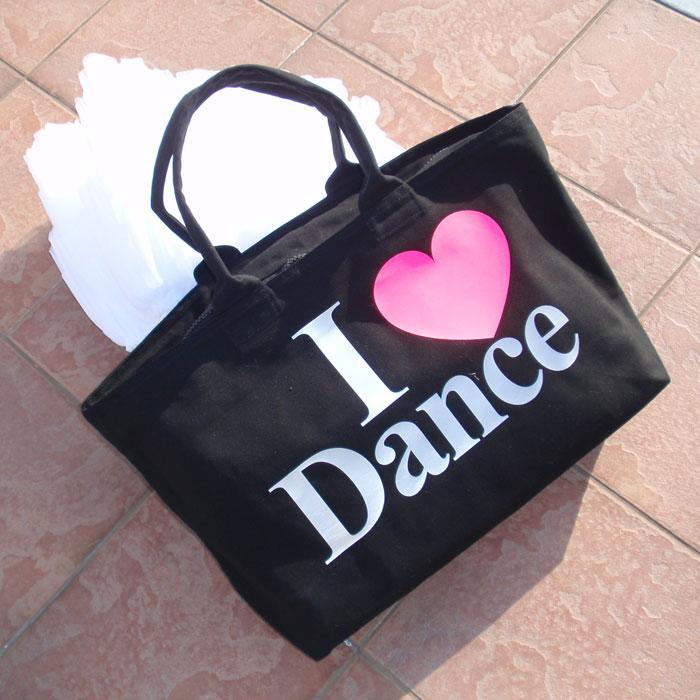 ★ダンス【黒色バッグ】キャンバスZIPトートバッグ(文字デザイン)
