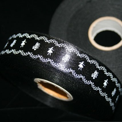 バレエ【リボン】レースバレエ柄リボン 光沢ブラック 幅26mm長さ1m;