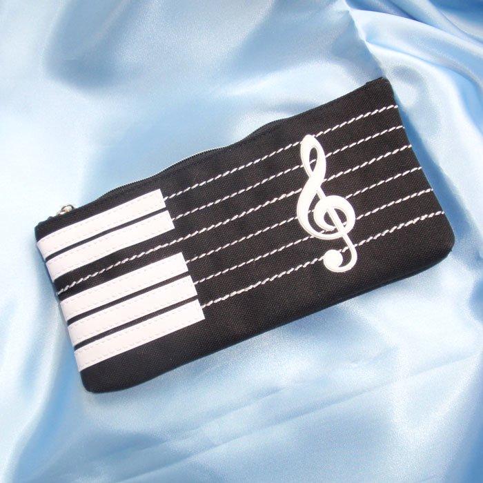 音楽【文具】ペンケース,筆箱 (ピアノ.音符.バイオリン.プレゼント.ギフト)