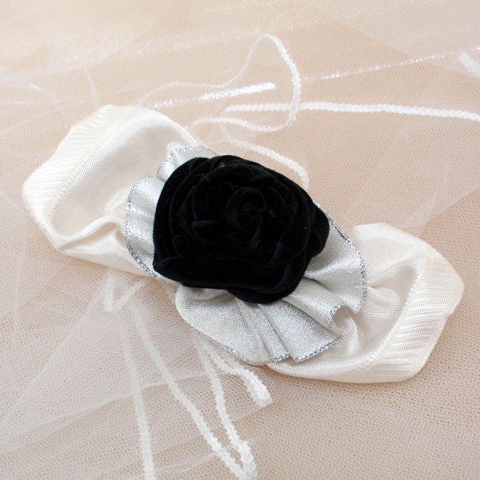 ヘアアクセサリー,バレッタ白リボン/髪飾り.髪留め
