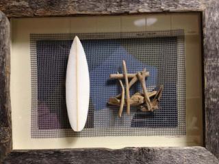Barn wood frame surf board
