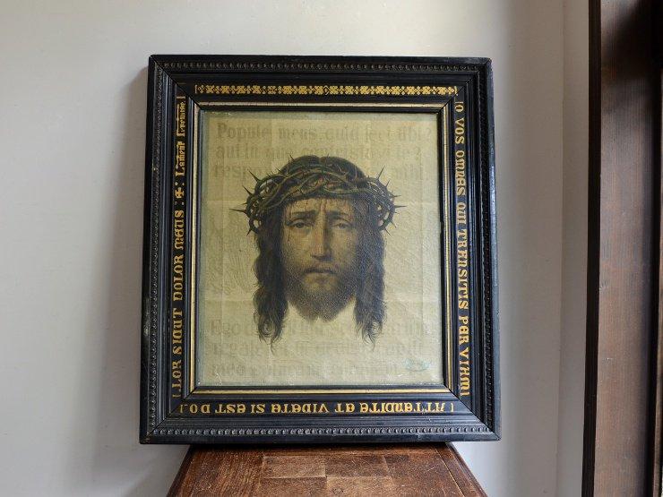 アンティーク 木製フレーム キリスト絵画