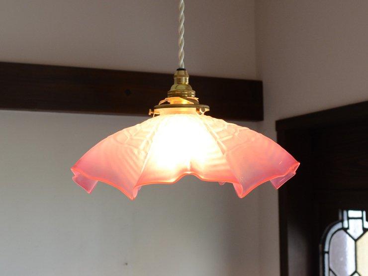[お客様検討中] ローズピンク フリルガラス ペンダントランプ