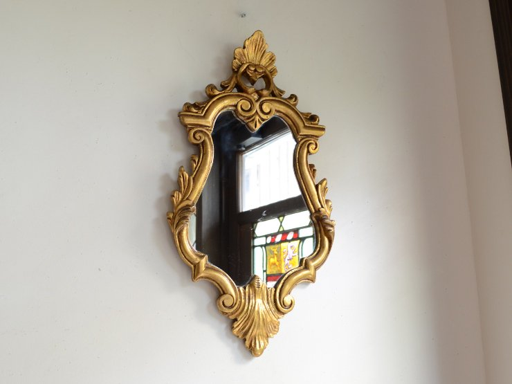 ゴールドフレーム ヴィンテージ壁掛けミラーB