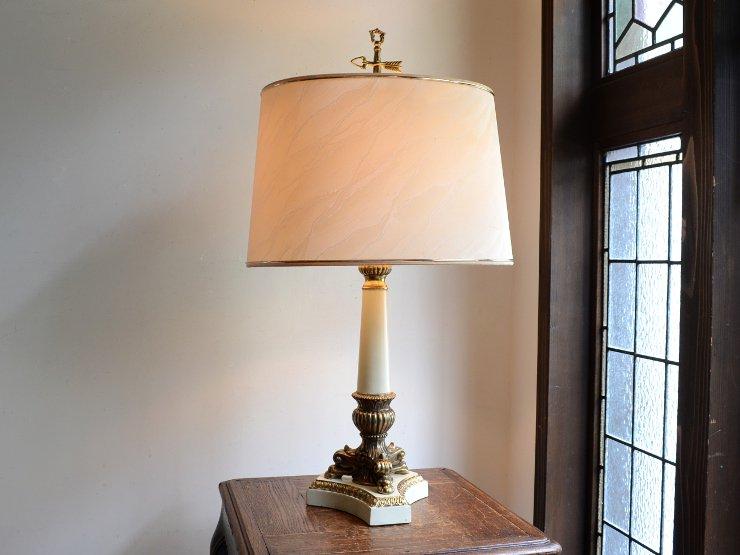 ヴィンテージ 楕円シェード2灯テーブルランプ(H73cm)