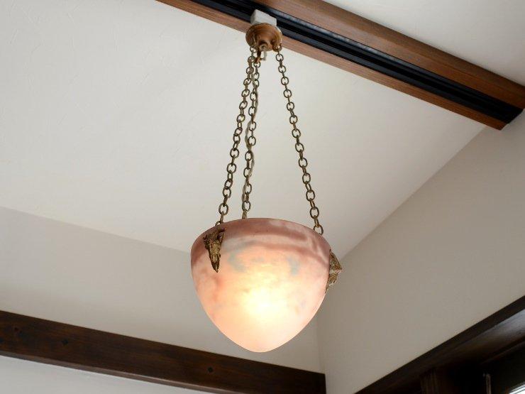 1920年代 アンティーク ミューラーガラス ペンダントランプ