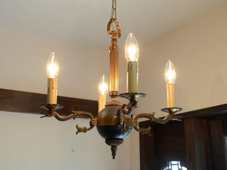 アンティーク 真鍮4灯シャンデリア