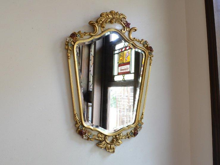 フラワーモチーフ 壁掛けヴィンテージミラー