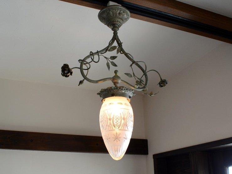 1920年代 アンティーク ガラスペンダントランプ