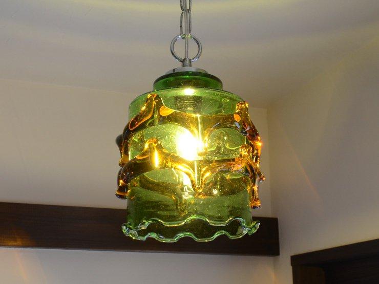 ヴィンテージ グリーンガラス ペンダントランプ