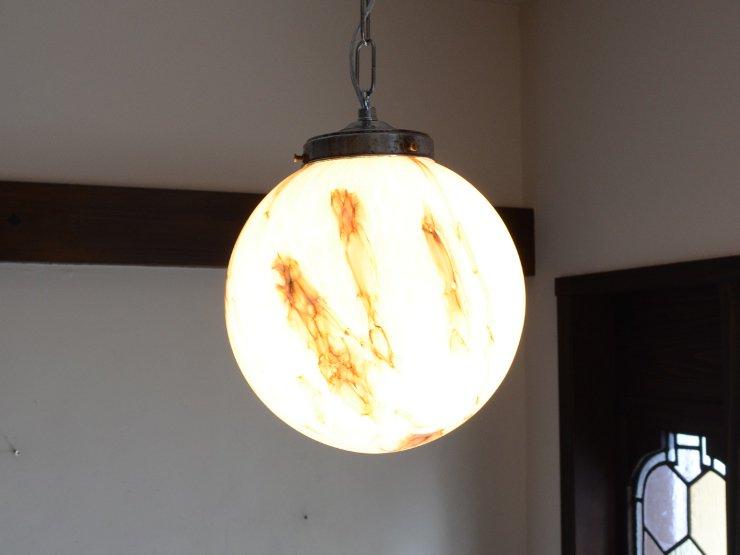 アール・デコ マーブル柄ガラスペンダントランプ