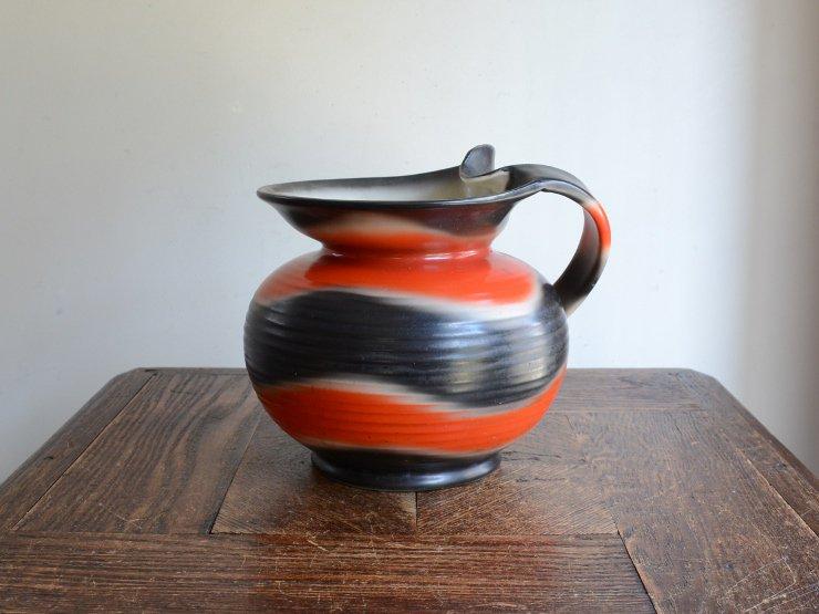 アール・デコ 取手付 陶器フラワーベース