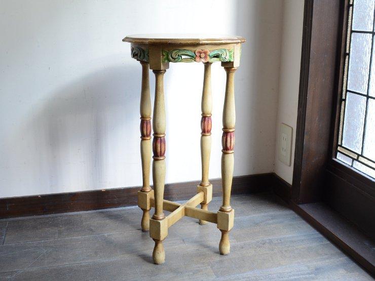 ヴィンテージ フラワー木製サイドテーブル
