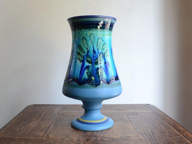 ヴィンテージ ブルー 陶器フラワーベース